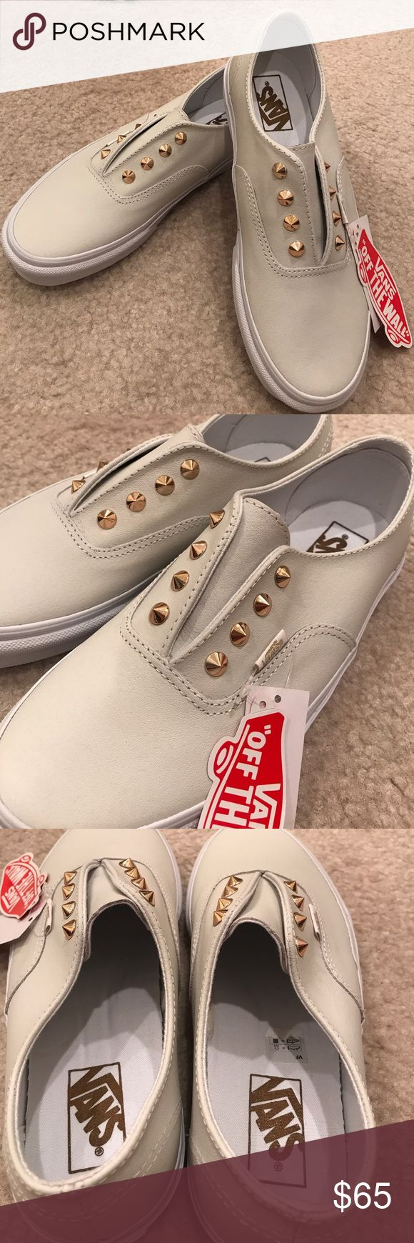Brand new white leather Vans with gold spikes Not taking any offers...no further discounts! Brand new with no box white leather Vans with gold spikes. Size 7.5. Slip on style. No Trades! Vans Shoes Sneakers