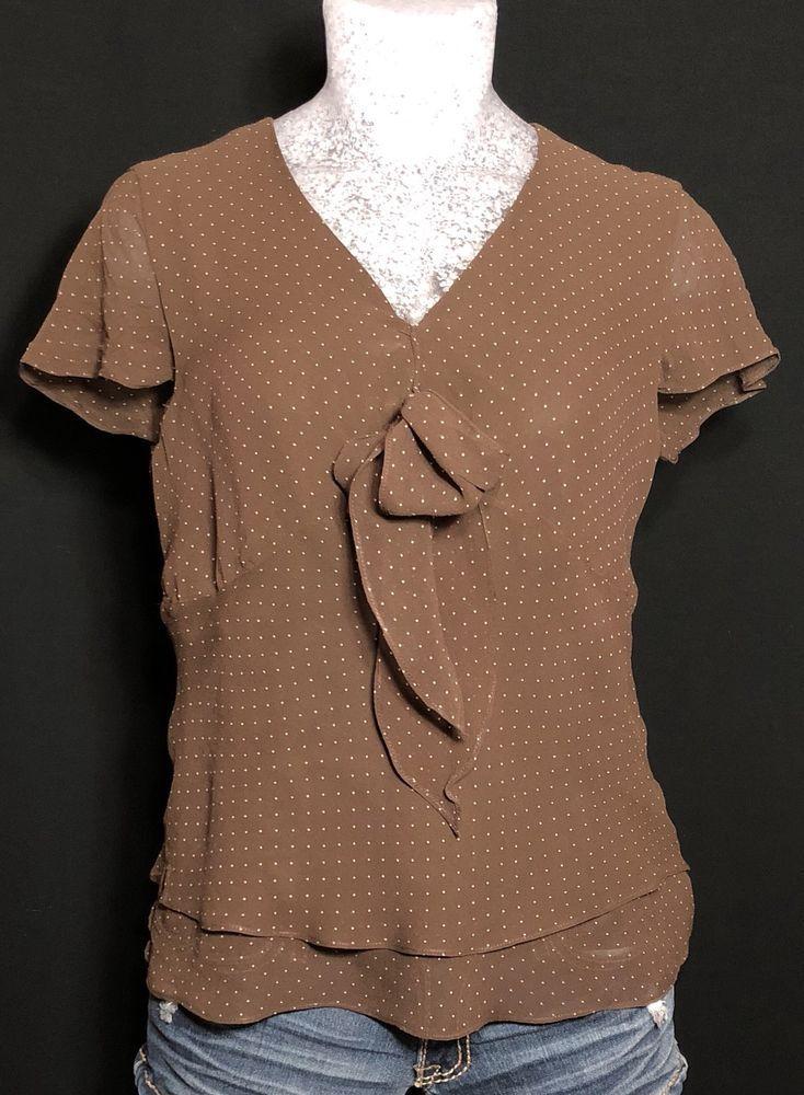 f47f049a05ac45 Liz Claiborne Women s Silk Top Size 4 Brown Polka Dot  fashion  clothing   shoes