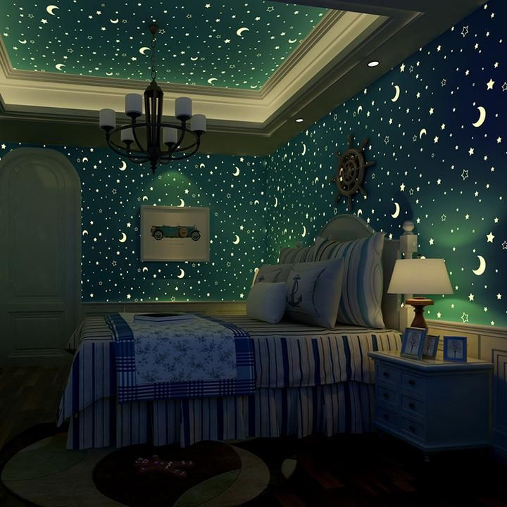 Luminous Stars And Moon Wallpaper Blue 5 3 Home Wallpaper