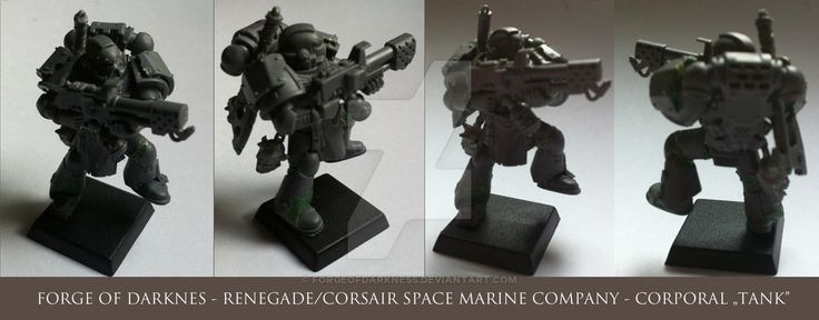 """=WIP=  Corporal """"Tank"""" from renegade Space Marines Company.  The plan is to present them as a group of mercenaries, privateers, bounty hunters specializing in boarding actions. For the purpose of the game I will use them as CHSM Army with an emphasis on fun, not on strong adher"""
