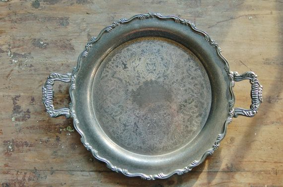 Round Silver Serving Tray with Patina by CobblestonesVintage