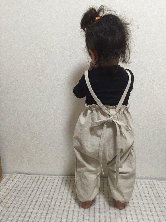 オールseason♡❤︎♡コットンリネンのナチュラルかぼちゃ型♡楽ちん長〜〜く着れる つなぎ
