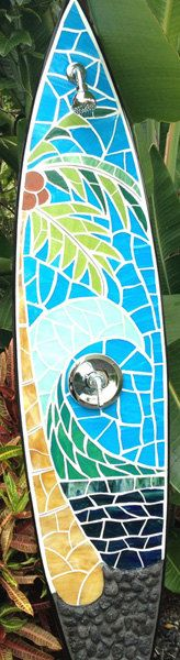 Outdoor surfboard shower. Kona beach scene ready to be hooked up to hose or plumbing. $4,295.00, via Etsy.