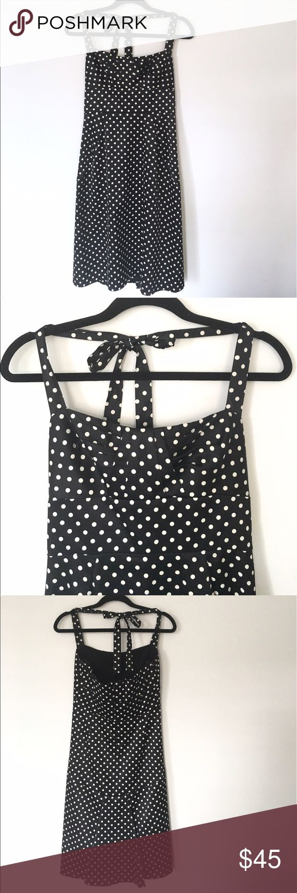 Donna Ricco Polka Dotted Midi Halter tie, dovetail back, fully lined, with ribbing, and in excellent condition! Great for 50s party, rockabilly wear, or any occasion! Donna Ricco Dresses Midi