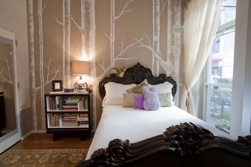 I love the wallpaper and the bed frame