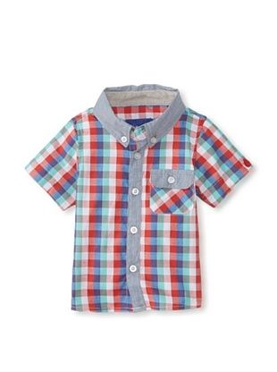 60% OFF Beetle & Thread Kid's Multi Check Short Sleeve Button-Up (Red)