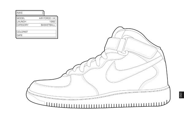 nike sneaker design | hip hop coloring book compiled by jamee ... - Air Force Coloring Pages Kids