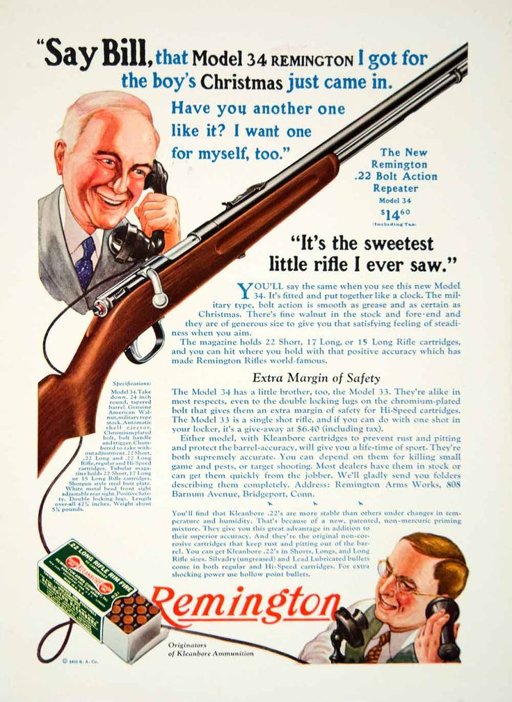 1933 color print ad for the Model 34 .22 caliber, bolt action, repeater rifle that was made and sold by the Remington Arms Works.
