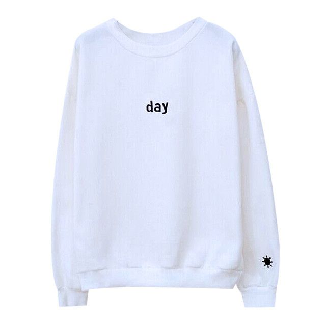 Harajuku Embroidered Day&Night Womens Hoodies Pullover Sweatshirt Fashion Women's Sweatshirts Svitshot Women's Tracksuits Tops
