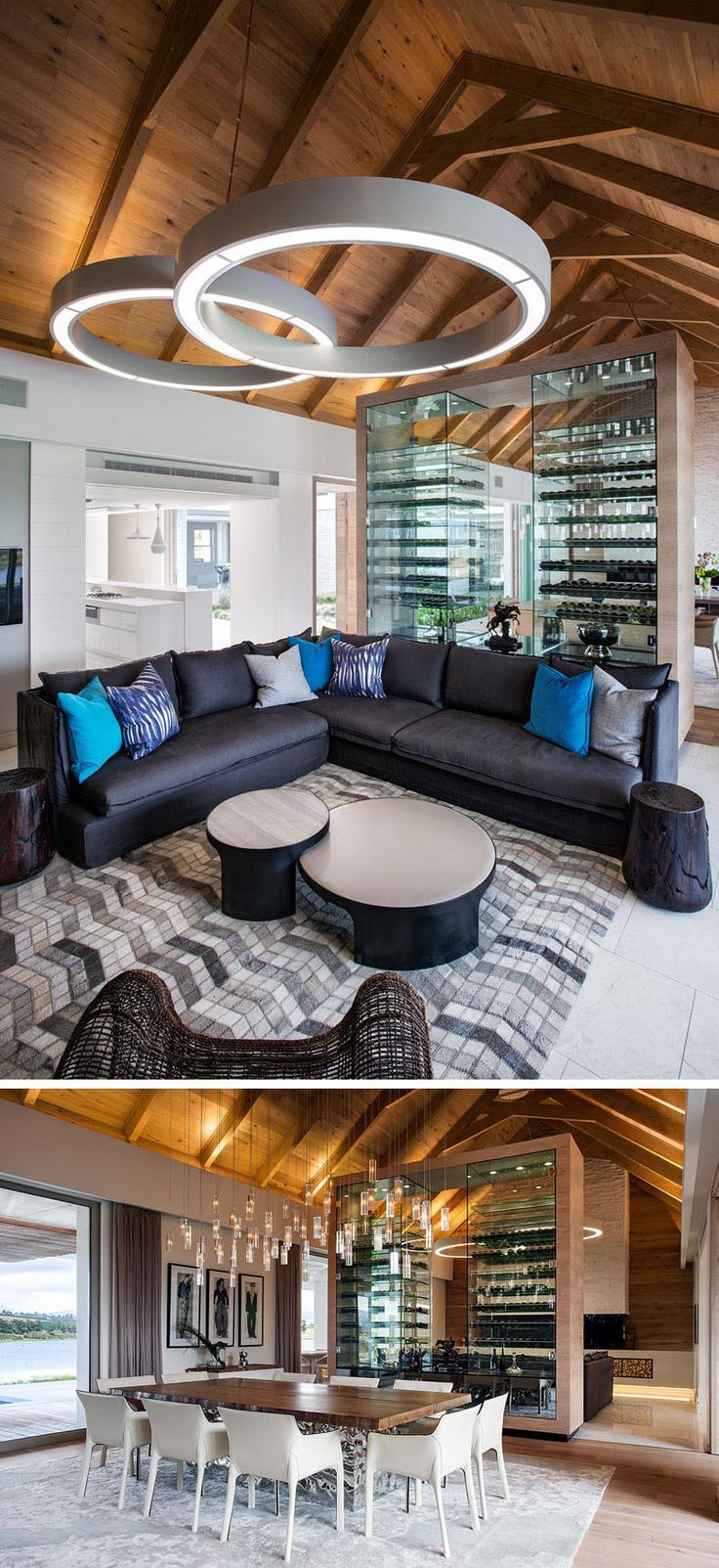 Room Divider Ideas - 10 Examples Of Multi-Functional Room Dividers // Dividing the living room from the dining room in this South African home, is a large wine rack that keeps the wine at just the right temperature.