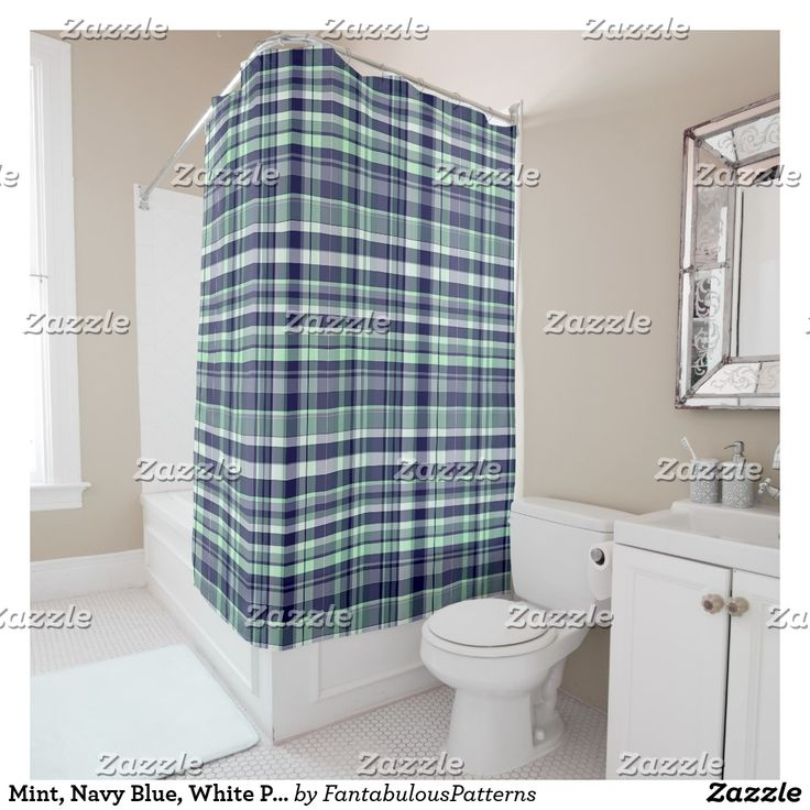 Mint, Navy Blue, White Preppy Madras Plaid Shower Curtain