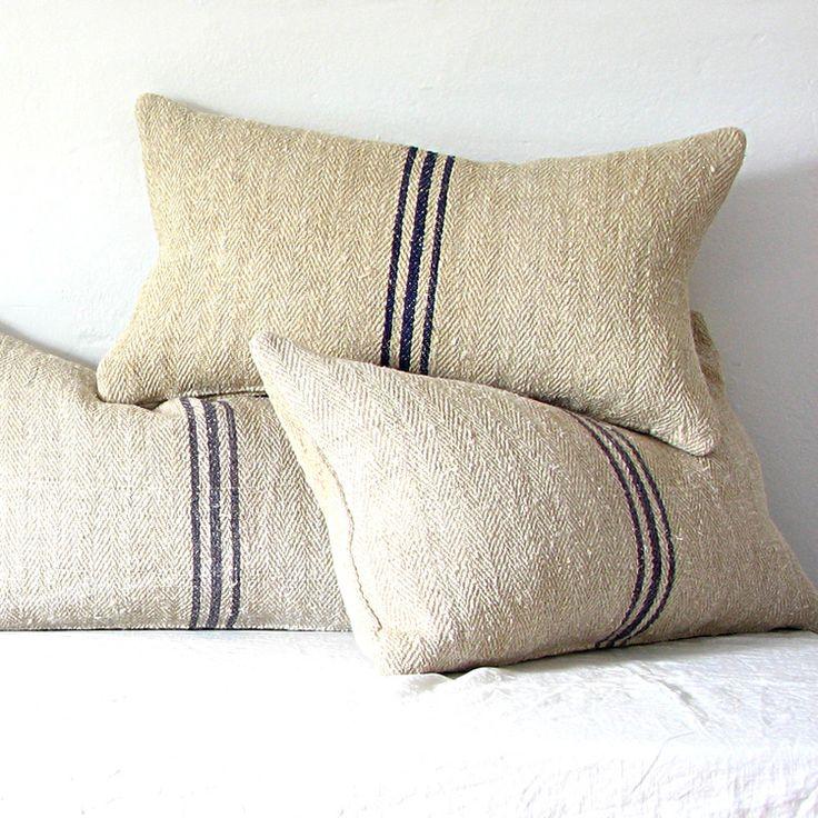 Vintage / Antique Grain Sack Lumbar Pillow.     JILL BENT HANDMADE & VINTAGE
