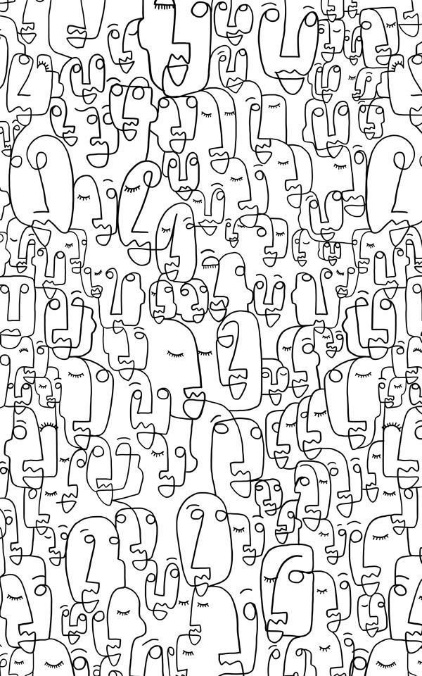 Face Line Drawing Wallpaper Mural