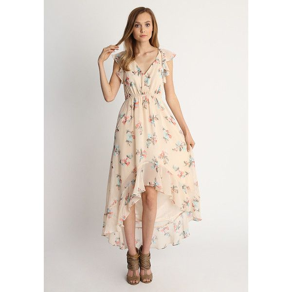 Ruche Annabelle High Low Floral Dress ($68) ❤ liked on Polyvore featuring dresses, cream, floral maxi dress, white maxi dress, floral dresses, high low dresses and high low maxi dress