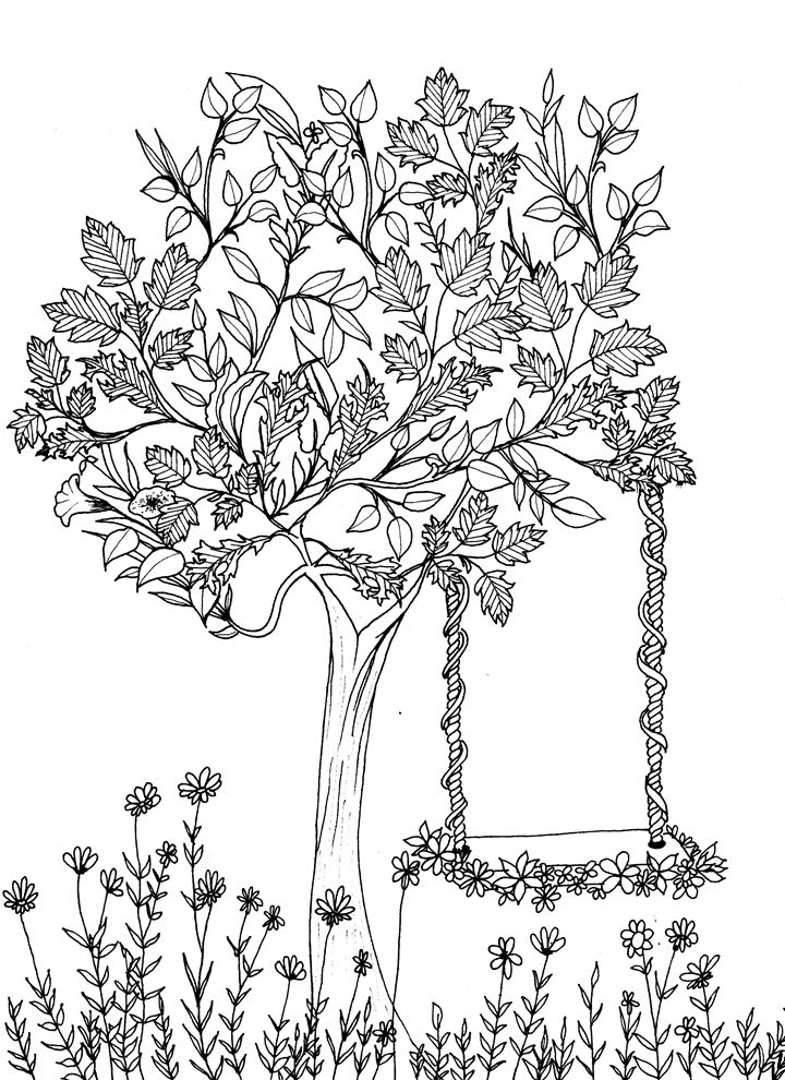 The 407 best ♣Adult Colouring~Trees~Leaves ~ Landscapes