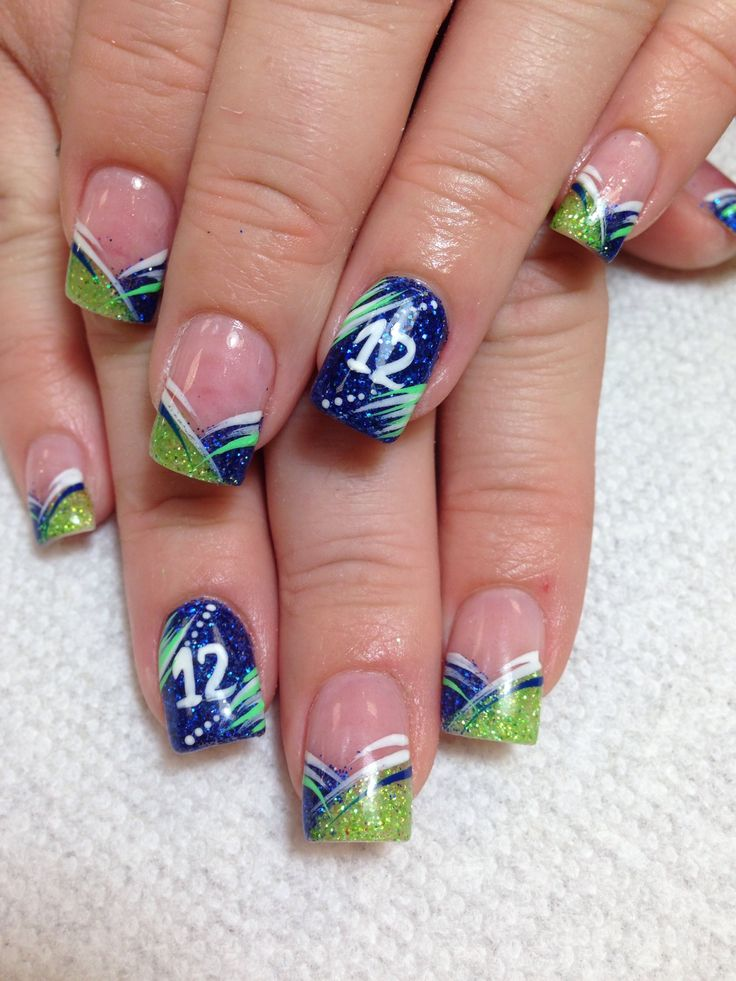 Seattle Seahawks Nails, Football Nails