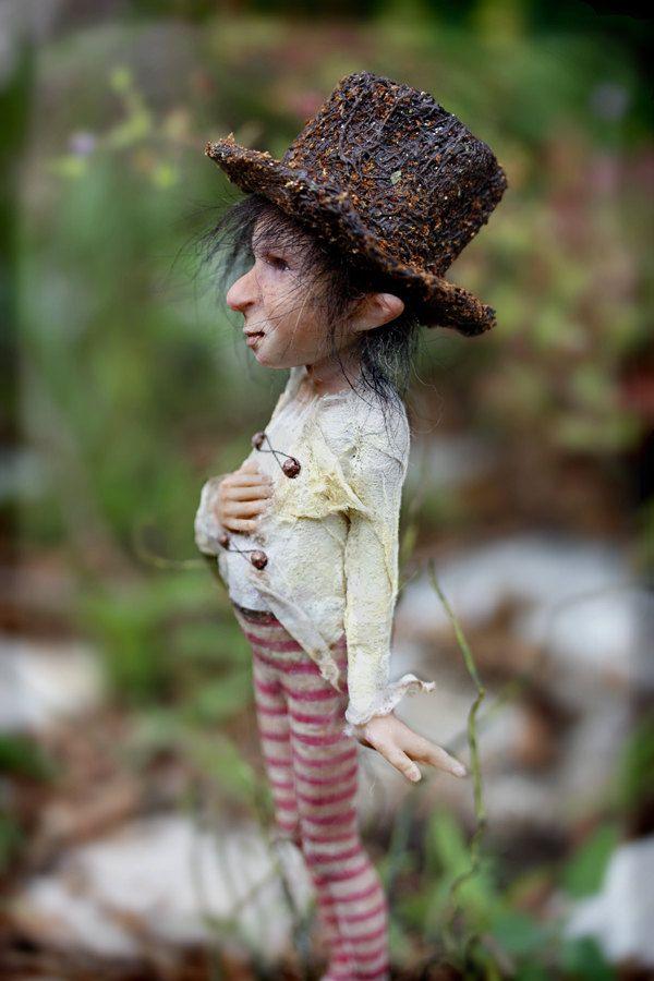 Little pixie Caruso OOAK made by Tatjana Raum. $590.00, via Etsy.