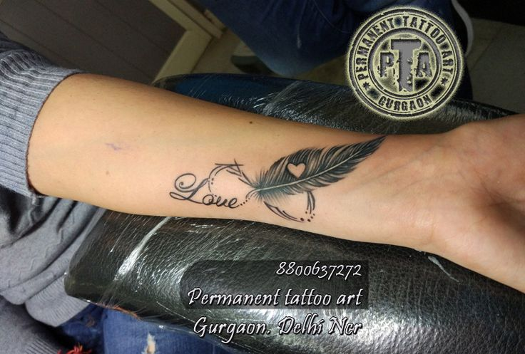 name tattoo design ,name tattoo, name tattoo with infinty and feather , name tattoo design ideas, name tattoo design for girls, name tattoo design on wrist, name tattoo design , name tattoo design with feather and heart inside  8800637272 AT- Permanent tattoo art, Gurgaon Delhi/NCR