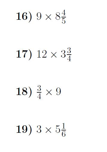 Multiplying fractions and mixed numbers by whole numbers ...