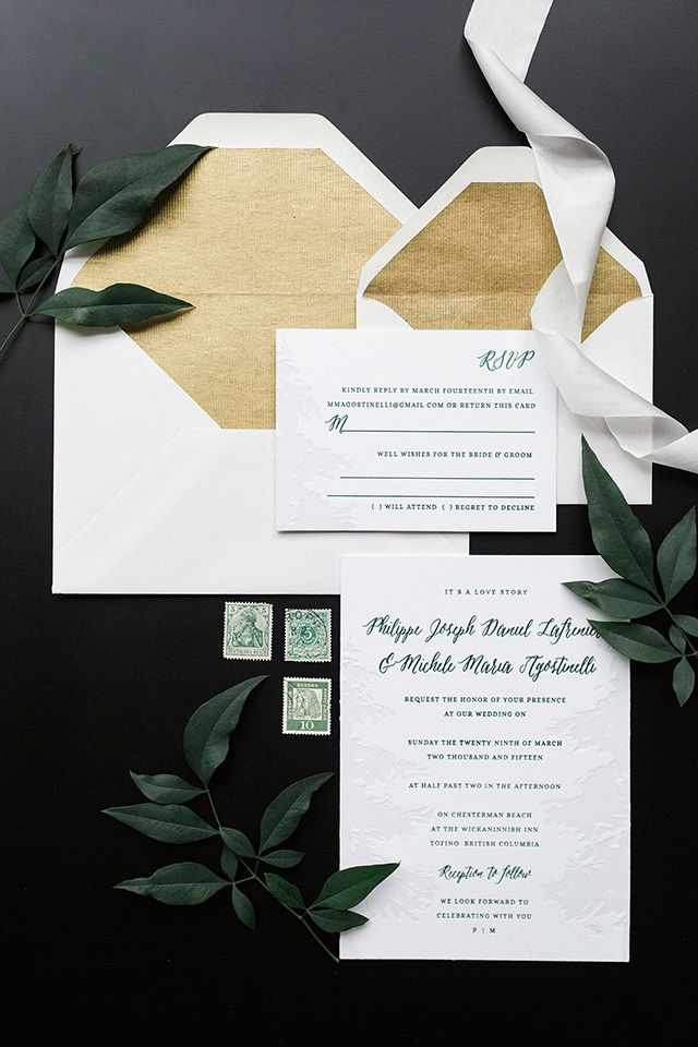Green and White Nature-Inspired Wedding Invitations by Tuktu Paper Co. / Oh So Beautiful Paper