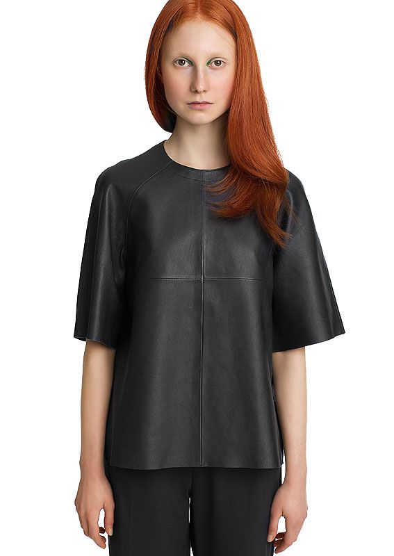 LUMI Women's Leather T-Shirt, Black