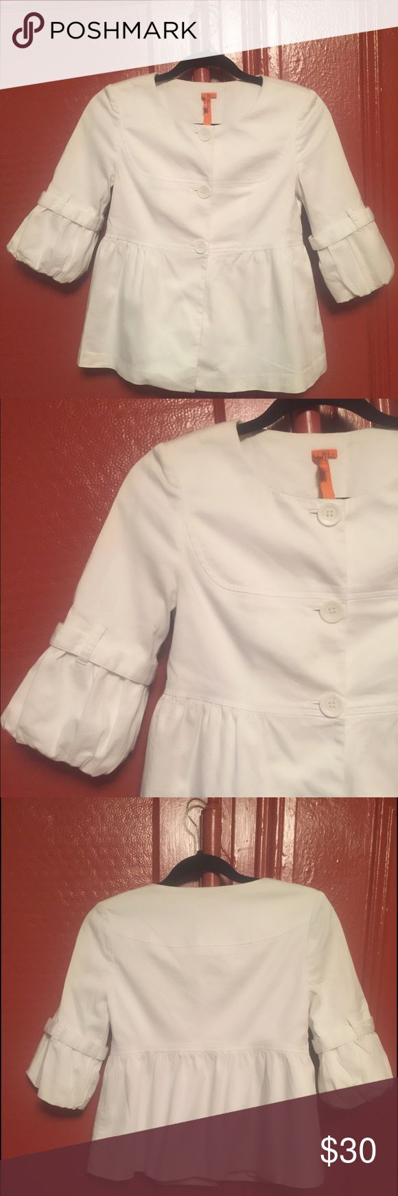 BCBGeneration jacket sz XS White 3/4 sleeve jacket. Gorgeous detail, was my favorite but is now too snug one me. There is a little discoloration at the back of the neckline. BCBGeneration Jackets & Coats