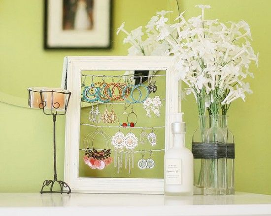 DIY Earring Stand- Use a picture frame and some wire to make an earring stand that is practical & pretty