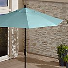 9' Round Sunbrella ® Bold Turquoise Patio Umbrella with Tilt Black Frame | Crate and Barrel