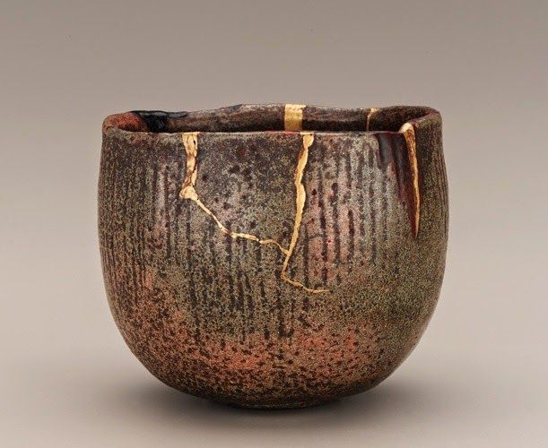 Japanese art of Kintsugi follows a different philosophy. Rather than disguising the breakage, kintsugi restores the broken item incorporating the damage into the aesthetic of the restored item, making it part of the object's history. (Wabi-sabi.) Kintsugi uses lacquer resin mixed with powdered gold, silver, platinum, copper or bronze, resulting into something more beautiful than the original.