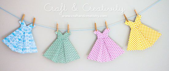 Origami dresses - so cute for so many things... shower invites/decorations.. little girls room....parties....