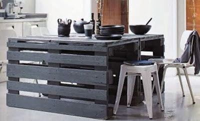 D co r cup ration palette table de cuisine fait main - Table de cuisine en palette ...