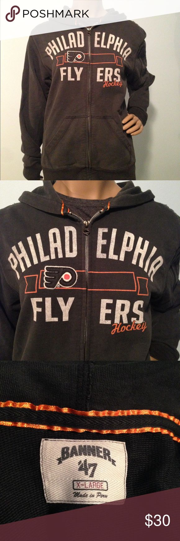 """Women's Flyers Hoodie 🏒🥅 EUC! Ladies Flyers apparel. Has the vintage worn/faded look. Runs a little small IMO but super comfortable. Listed as an XL, but I'd say it fits like a L. I also have a EUC grey Flyers women's tshirt in my closet. Bundle and save!   Approx Measurements: Bust: 21"""" Length: 26""""  Material: 100% Cotton Tops Sweatshirts & Hoodies"""