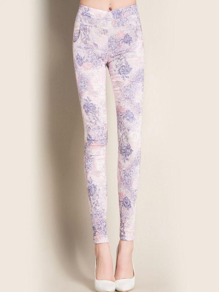 Skinny floral pants