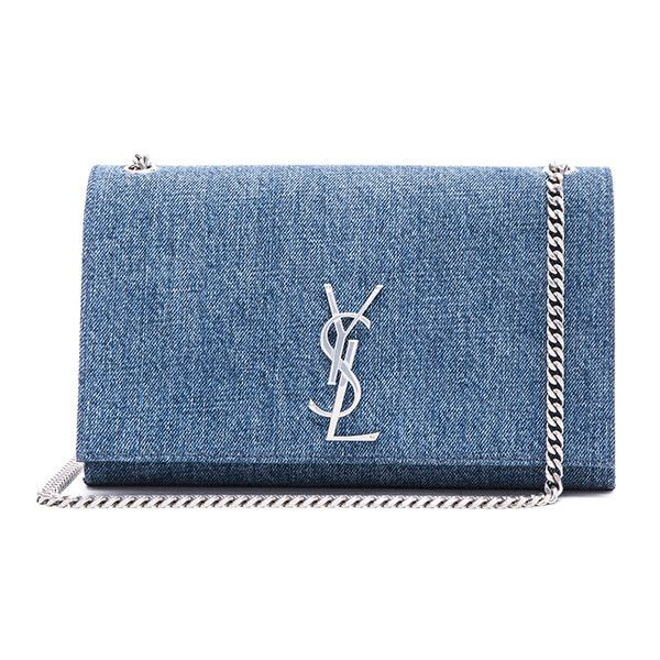 Saint Laurent Medium Denim Mongramme Chain Bag (€1.650) ❤ liked on Polyvore featuring bags, handbags, yves saint laurent handbags, chain handle handbags, denim handbags, chain handbags and hand bags