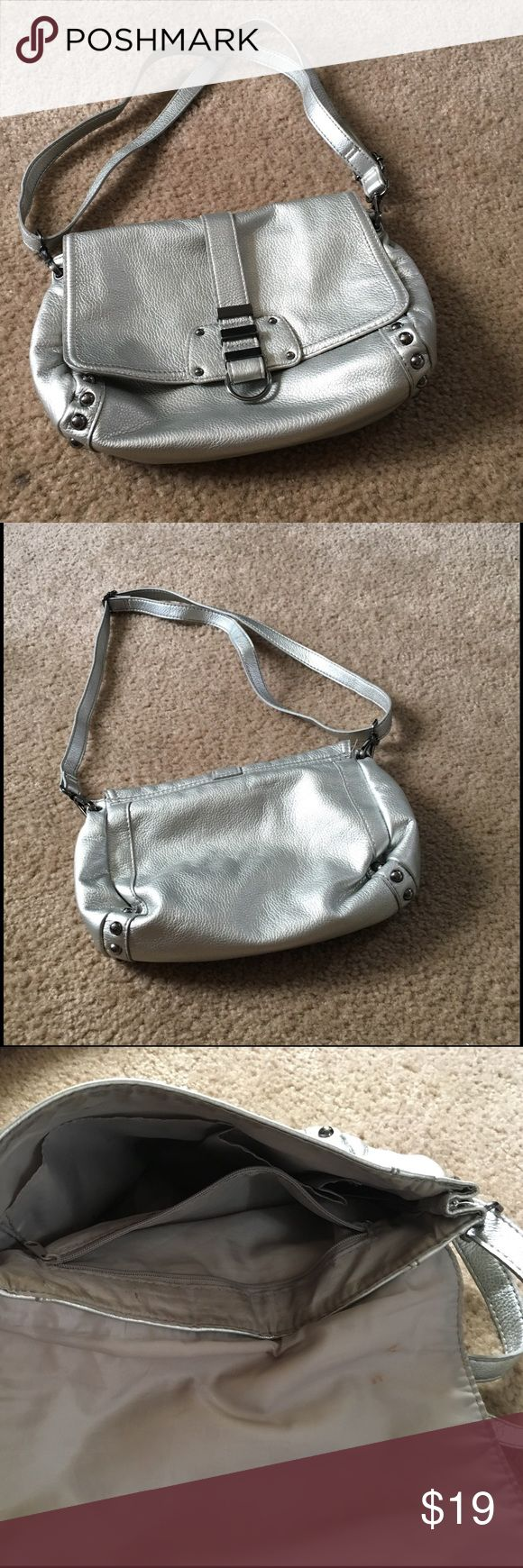 Metallic crossbody Used it quite a bit when metallic bags were first on trend. Good condition except for makeup stain inside. (See picture) H&M Bags Crossbody Bags