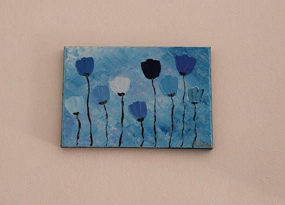 Blue poppies painting Flowers painting Flower painting