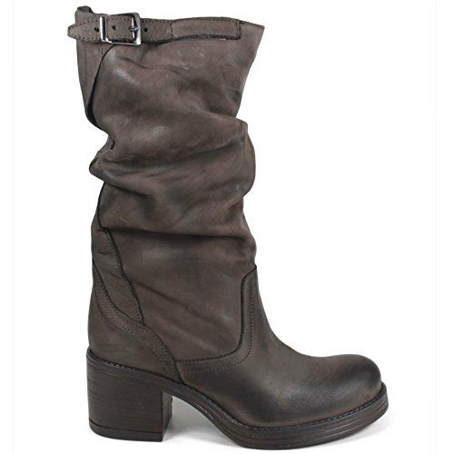 Stivali Biker Boots Metà Polpaccio Tacco Donna In Time 0180 Marrone Arricciati in Vera Pelle Made in Italy