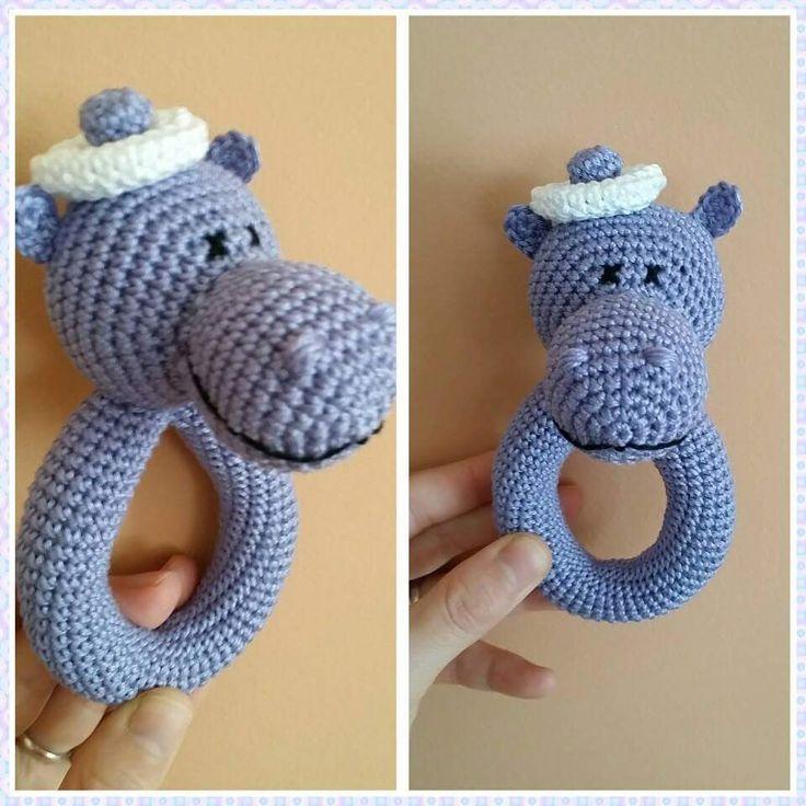 погремушка вязаная бегемот крючком Мастер-класс amigurumi crochet beanba...
