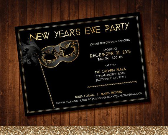 fun masquerade mask gold and black new years eve party invitation with a