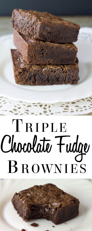 Triple Chocolate Fudge Brownies - Erren's Kitchen