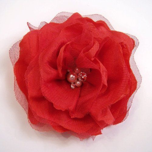 "Fabric Pearl Peony Artificial Flower Hair Clip/Pin Brooch, Red by Yves Decor. $9.90. Color: Red. Diameter: 4"". Height: 1"". Closure: Round Metal Pin/Clip. Flower: Fabric Pearl Peony. This beautiful hair clip/pin brooch, is handmade with high quality materials, leaving you with a silk flower that blooms far beyond the cheaper alternatives. These are made in South Korea. This is the highest quality fashion flower pin/clip!"