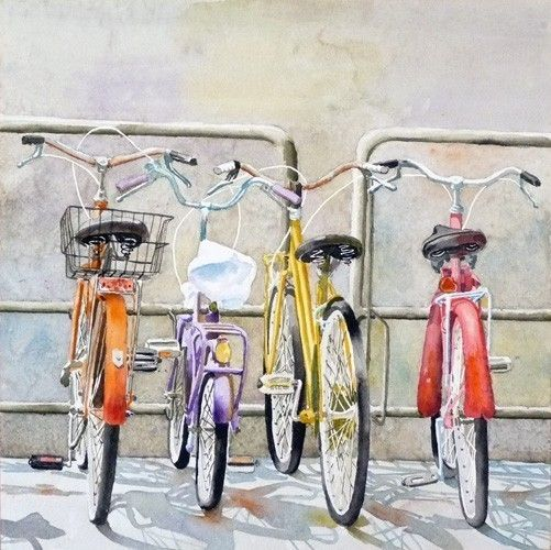 "Bicycle Art Watercolor Print by WatercolorByMuren,12"" x 12""... $28.00"