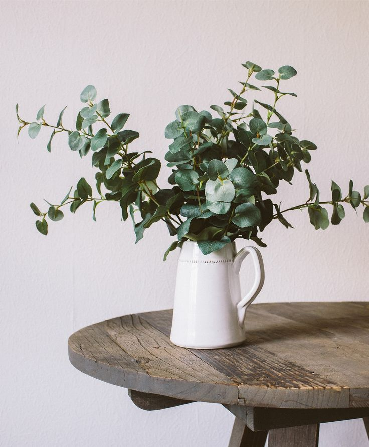 Eucalyptus - and amazing faux flowers.