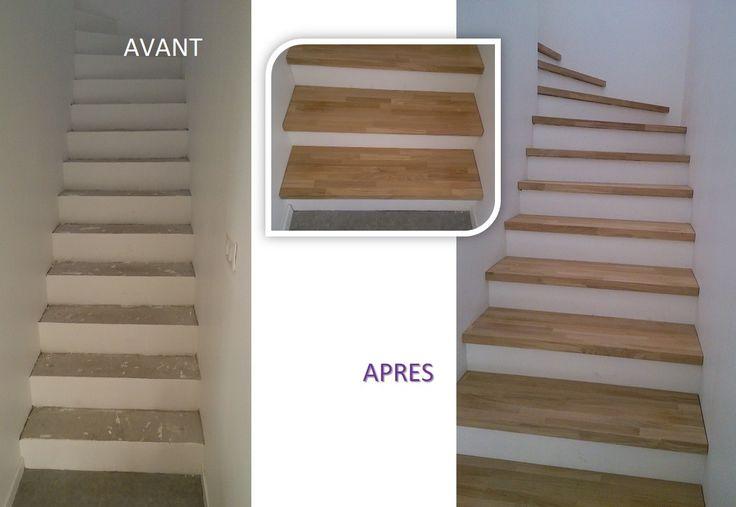Habillage BOIS - Marches balancées et droite sur escalier béton Plus