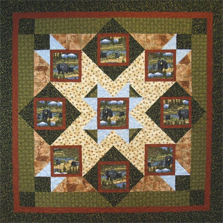 Quilting Panels Quilt Patterns : 353 best Eagle, wolves,deer and nature quilts images on Pinterest Panel quilts, Quilt block ...