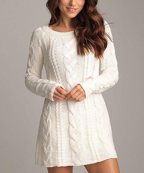 Snow Cable-Knit Sweater Dress