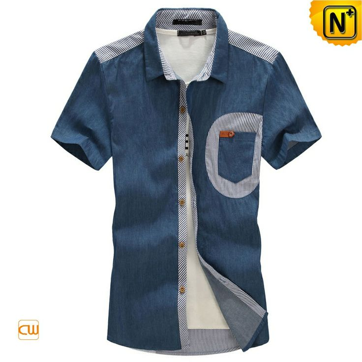 Casual Short Sleeve Denim Shirts for Men CW114321 $75.89 - www.cwmalls.com Designer casual short sleeve denim shirts for men with a classic collared button-front style which make an urban fashion statement, choose fashion yet comfortable mens denim shirts online