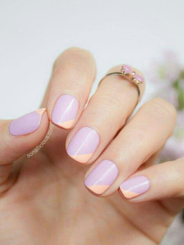 Two Tone Lilac and Peach Nails I #nails #nailpolish #polish #beauty www.pampadour.com