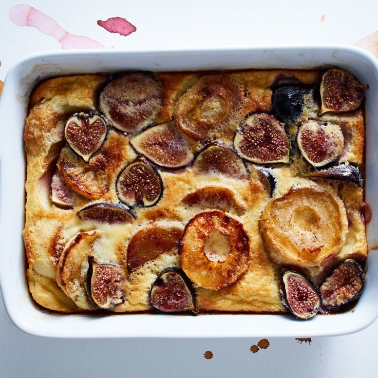 """We call this delightful apple and fig custard recipe """"dessert for breakfast."""""""