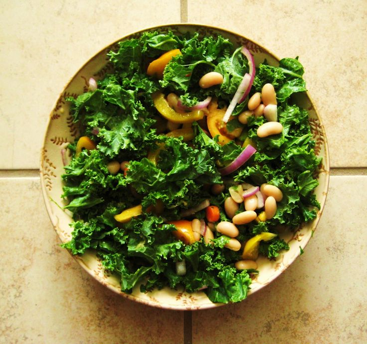 Kale and Cannellini Bean salad with ginger-miso dressing. #kale #vegan #recipe #beans #asian